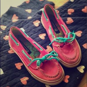 Adorable girls  Hot pink Sperry's